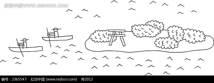 划船小人简笔画素材