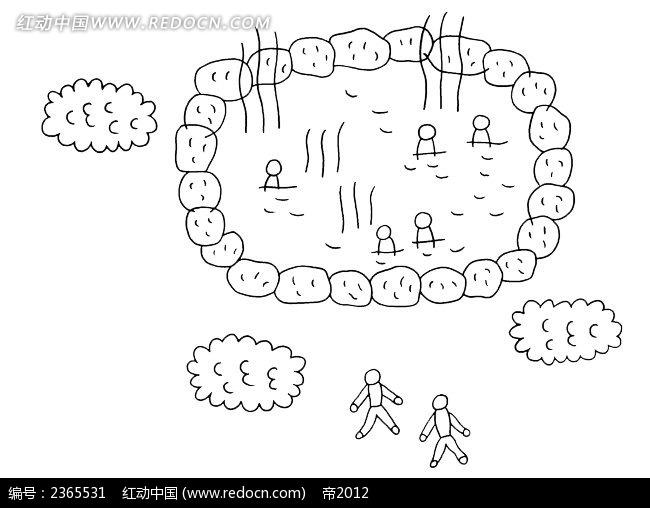 小人温泉草丛简笔画插图