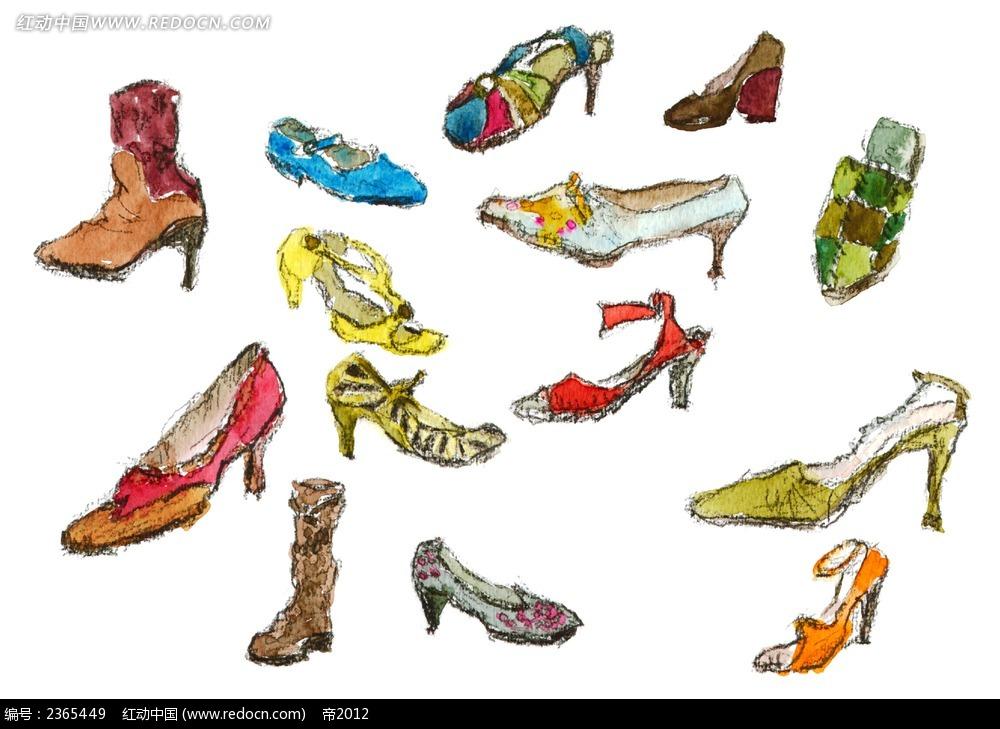 女性高跟鞋杂项手绘水彩插图psd素材免费下载_红动网