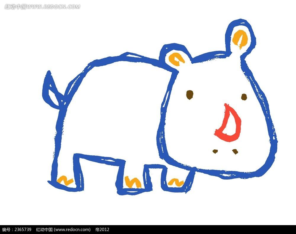 手绘卡通犀牛