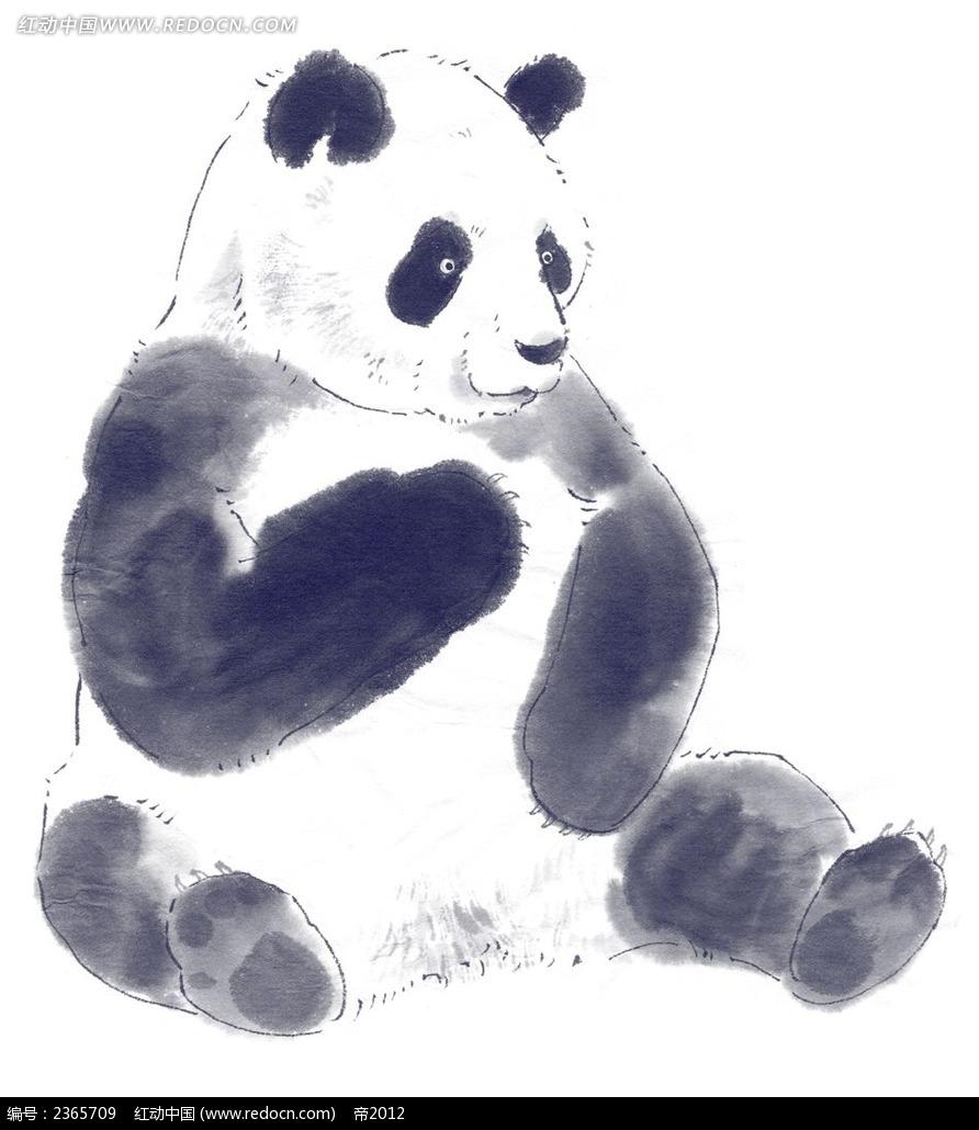 水墨大熊猫卡通漫画