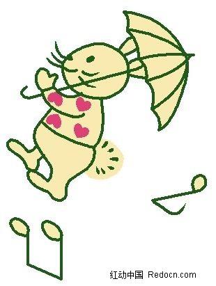 小兔子线描_可爱的小兔子线描图片漫画插画绘画图片下载