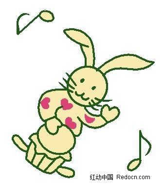 拍小鼓的手绘兔子卡通漫画