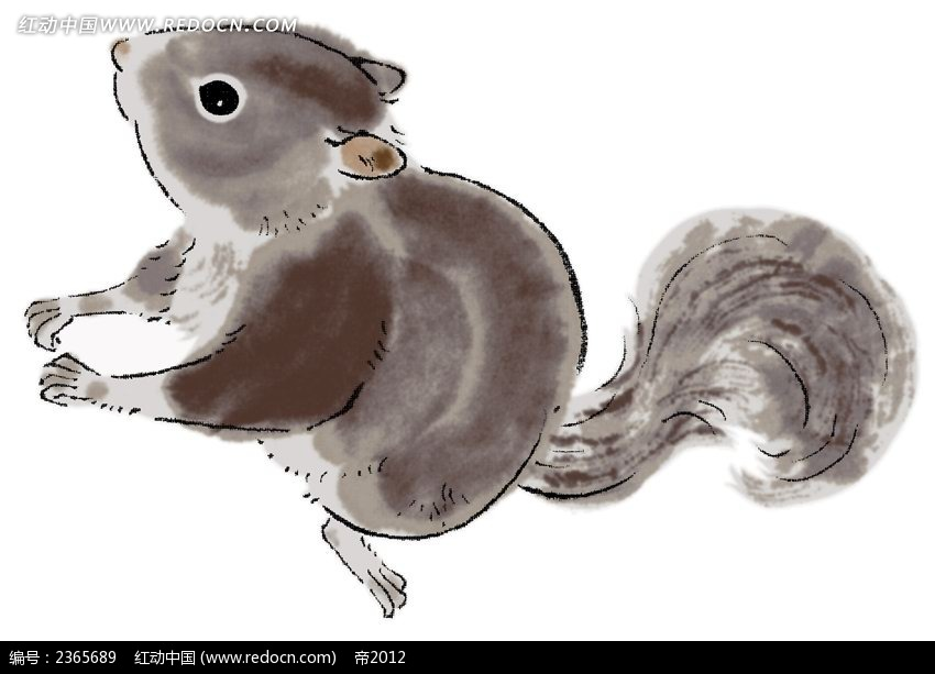 手绘水彩松鼠_动物_红动手机版