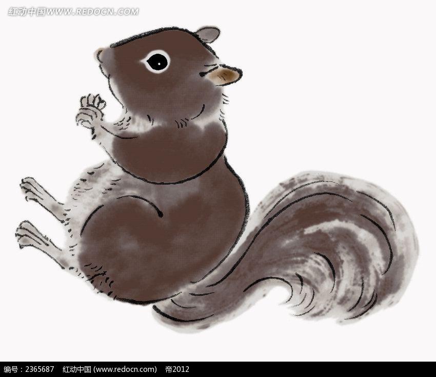 手绘水彩松鼠