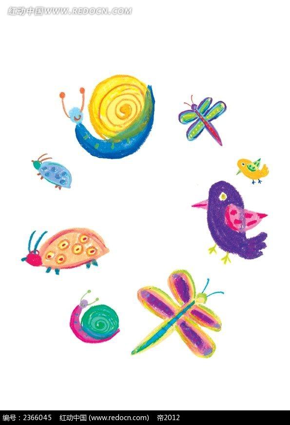 手绘小蜗牛韩国插画