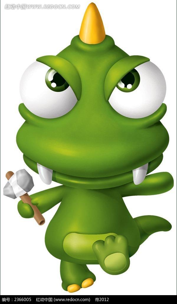 可爱绿色小恐龙卡通形象