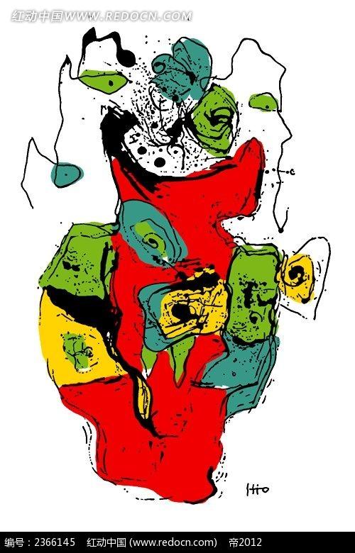 抽象的手绘画时尚漫画