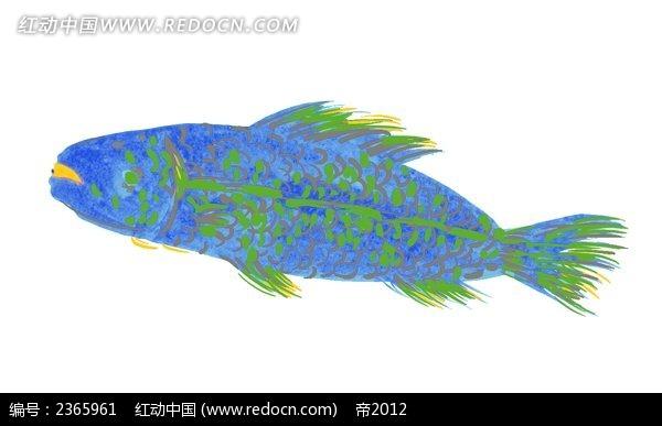 水彩蓝色怪鱼韩国矢量动物插画