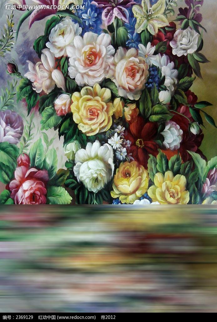 手绘花卉墙影楼背景图片免费下载(编号2369129)_红动网