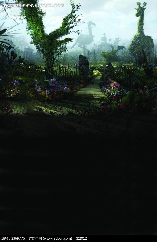 免费素材 图片素材 背景花边 数码背景 植物修剪动物造型油画素材