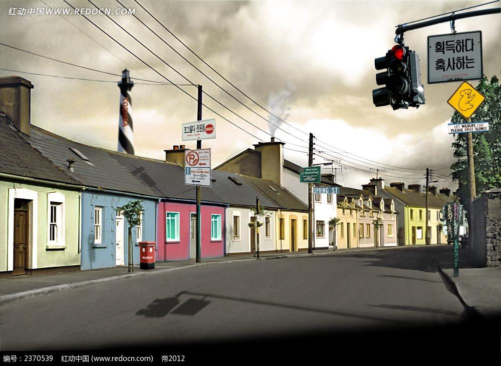 城市街道手绘图片