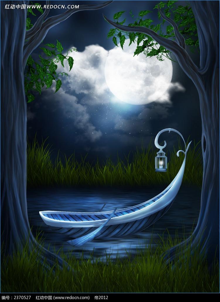 森林夜晚背景布_数码背景图片_红动手机版