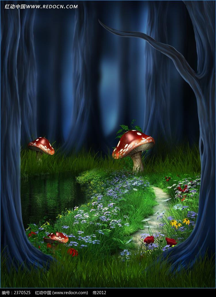卡通森林背景布