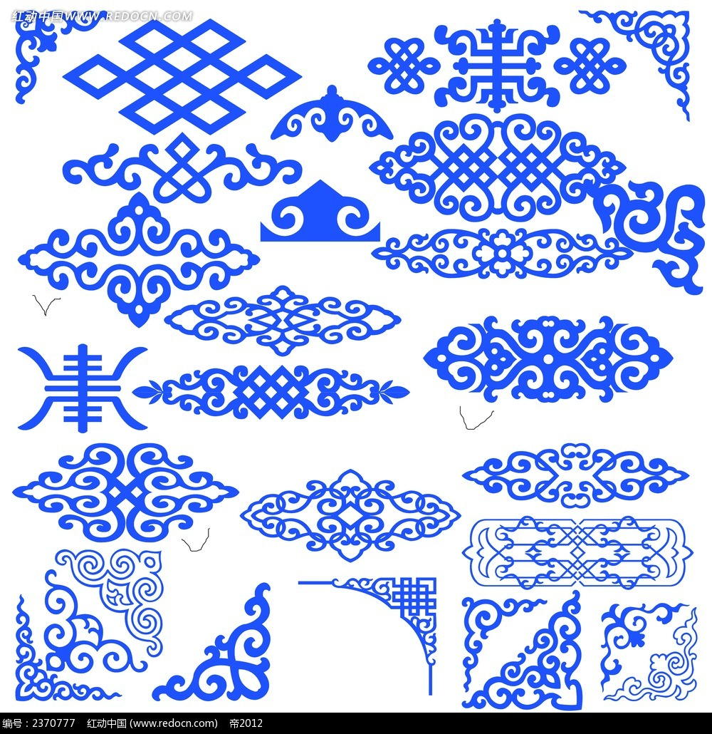 蓝色复古花纹花边素材