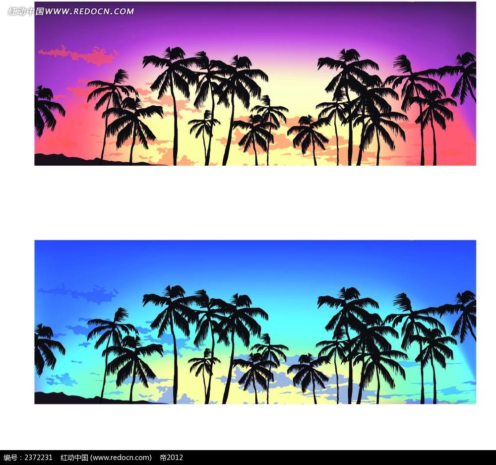 椰树手绘画背景图案