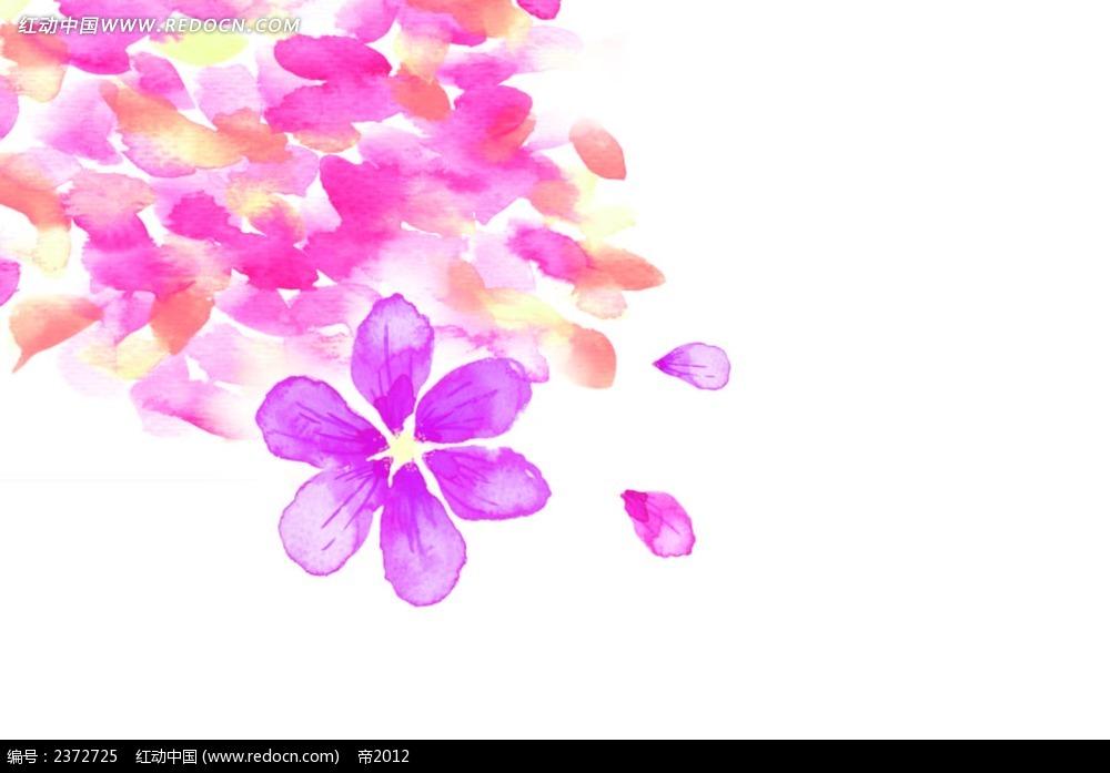 水彩紫色小花背景图
