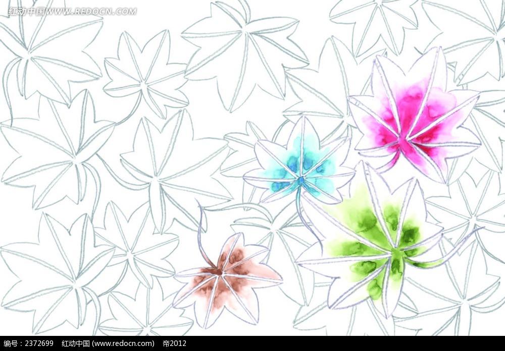 手绘水彩枫叶背景画