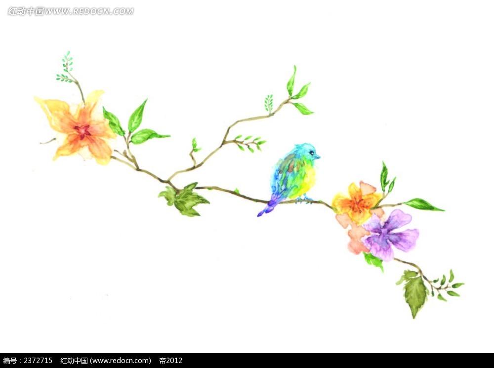 免费素材 矢量素材 花纹边框 底纹背景 水彩花枝小鸟背景画  请您分享