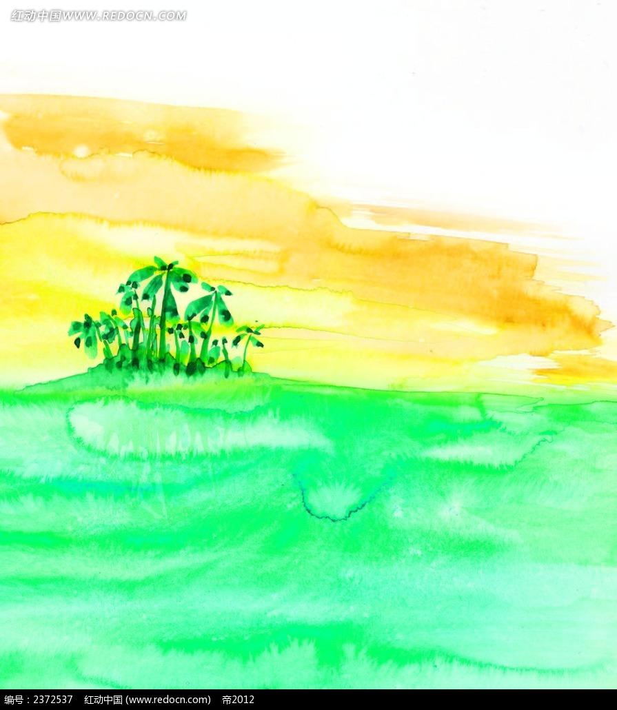 大海椰岛水彩风景画背景