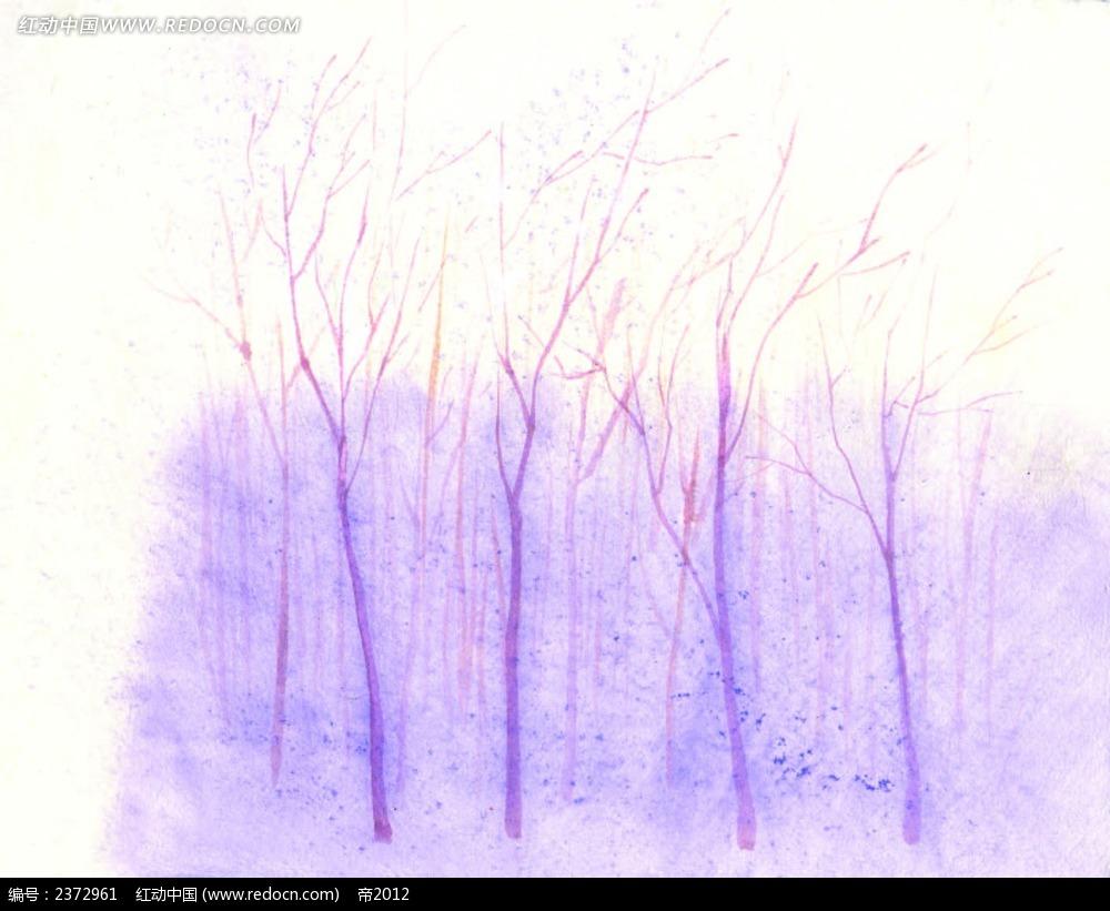 唯美紫色树林水彩画背景图