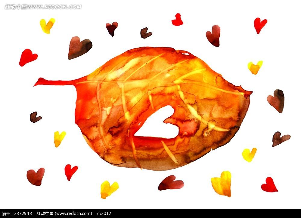 心形树叶水彩画背景