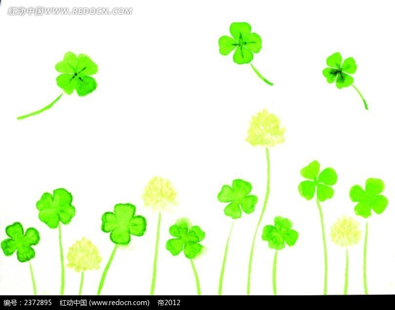 水彩画四叶草背景图图片