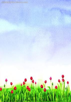 水彩小花風景畫背景圖