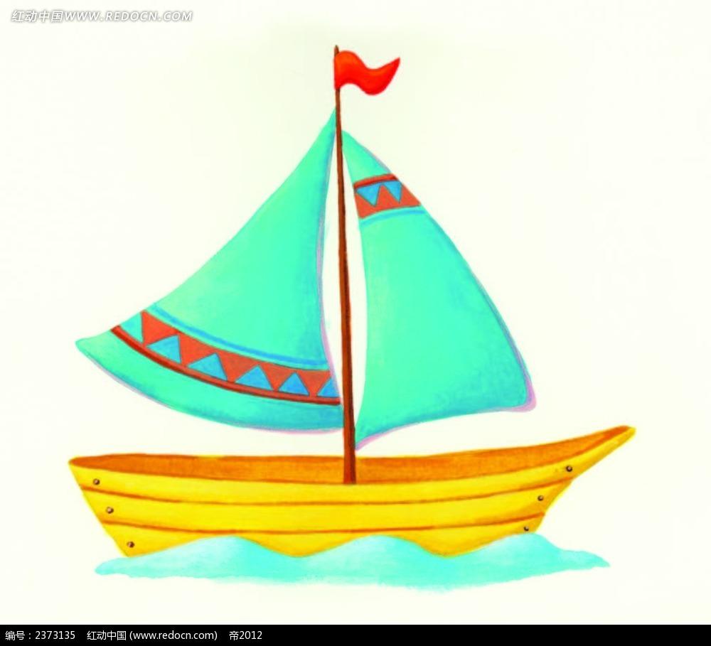 手绘卡通帆船