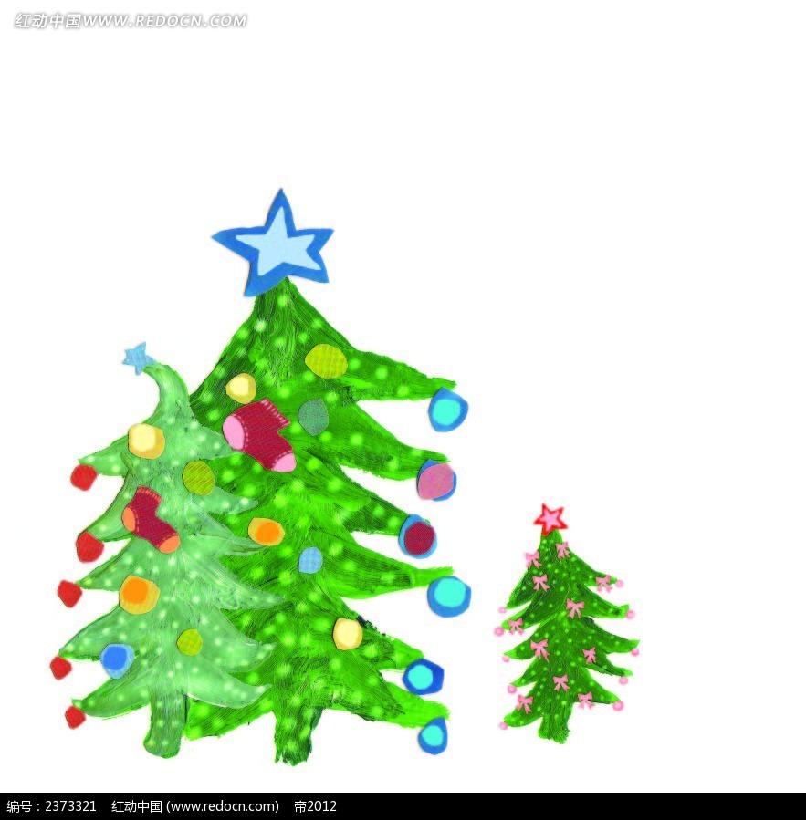 手绘水彩圣诞树