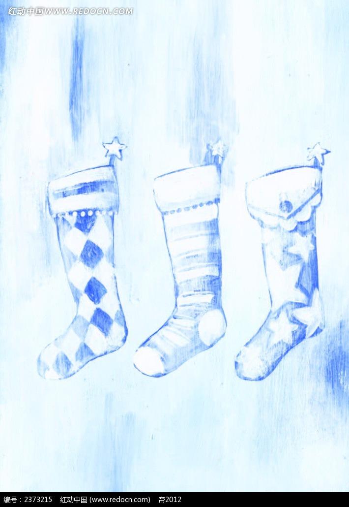 手绘水彩圣诞袜背景