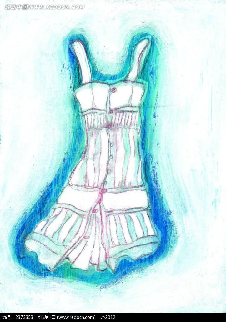 彩铅手绘裙子 手绘 鼠绘