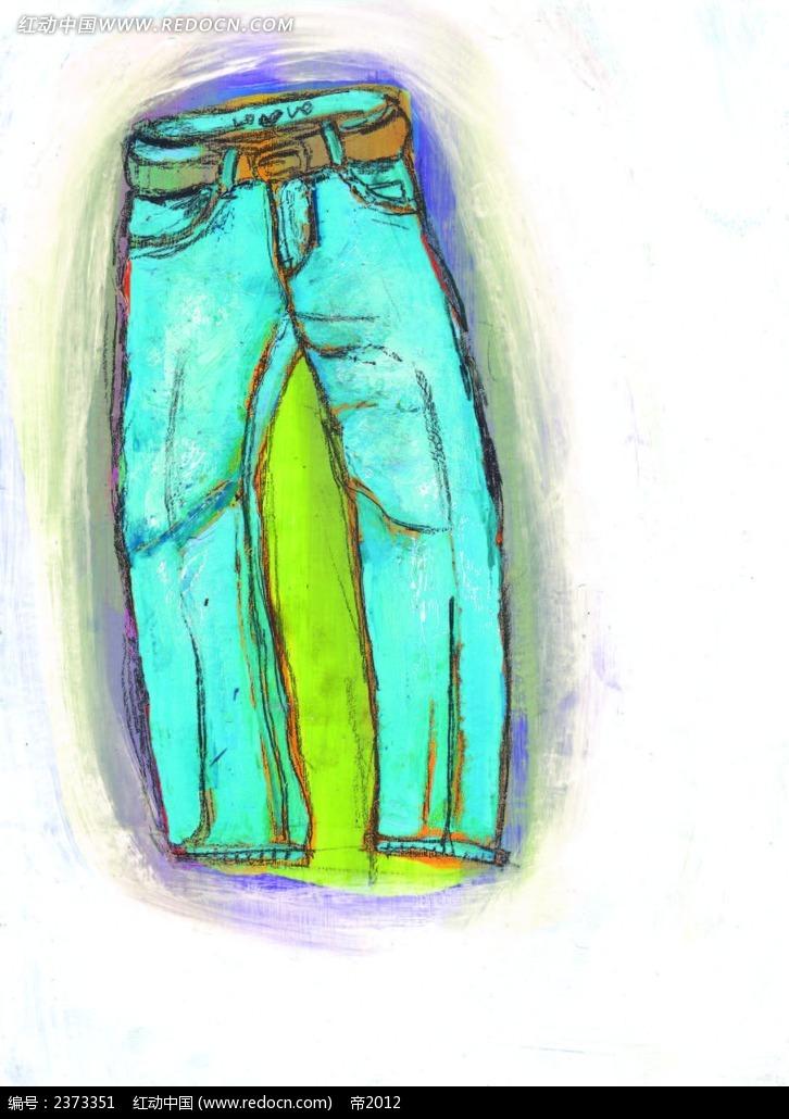 彩铅手绘裤子eps素材免费下载_红动网