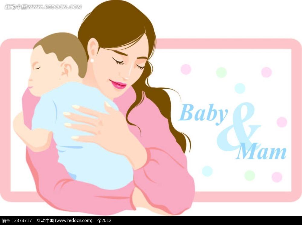抱宝宝的妈妈背景画矢量图