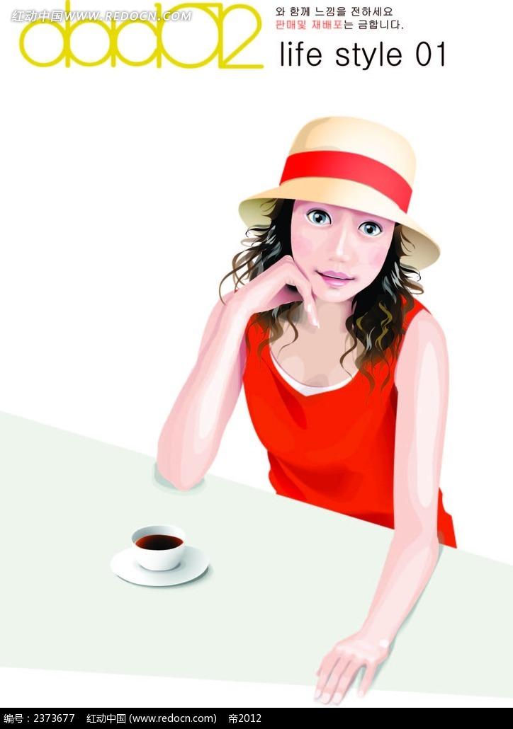 带帽子喝咖啡的手绘美女