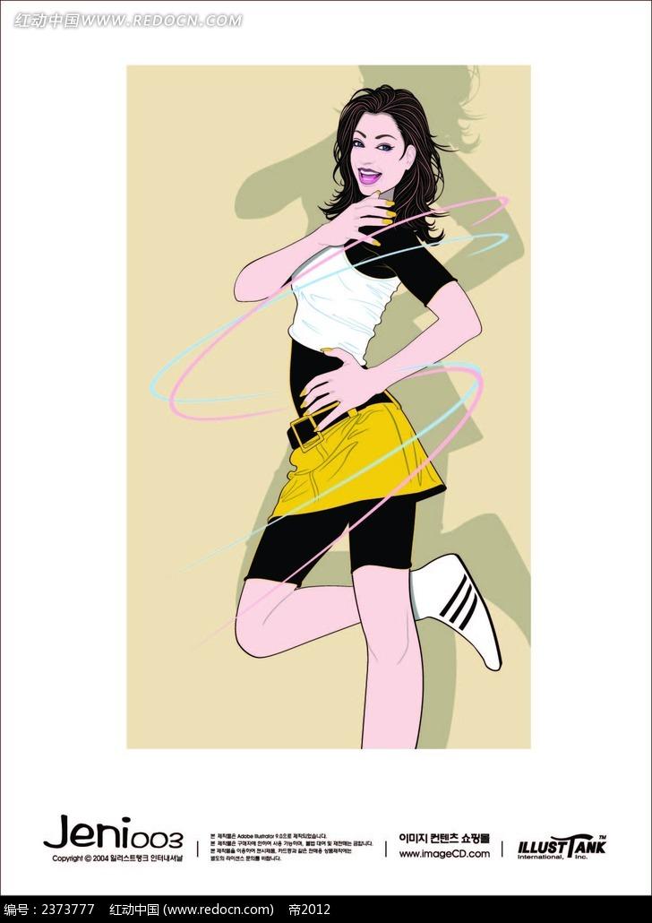 转呼啦圈的手绘运动美女