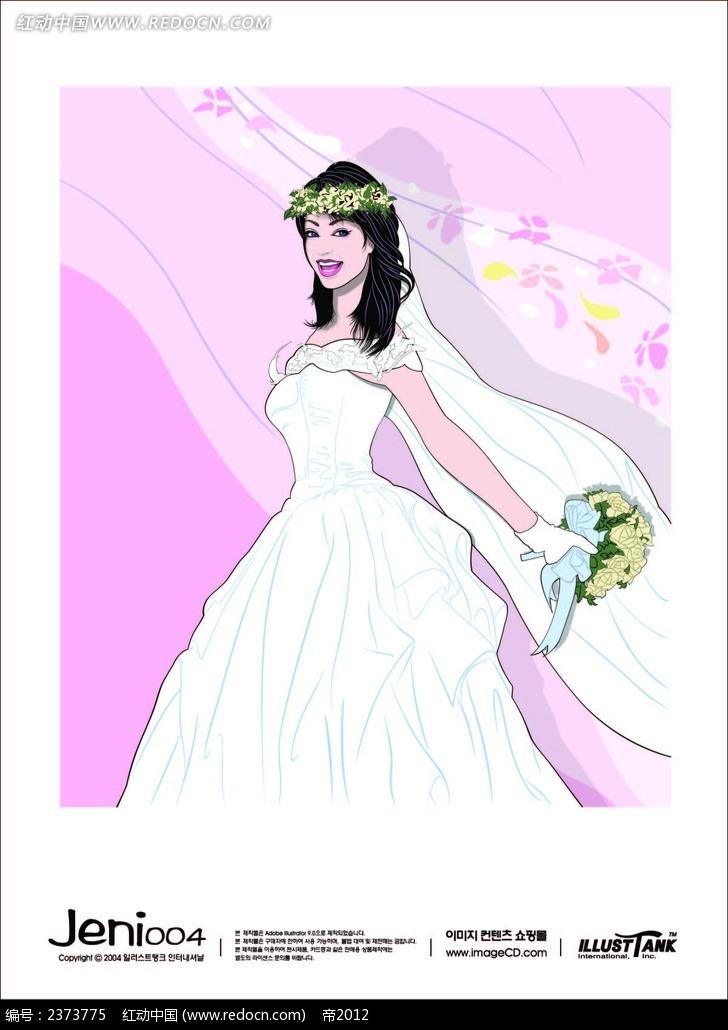 穿白纱婚纱手捧鲜花的美女