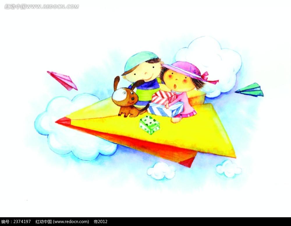 乘坐纸飞机的小情侣背景画
