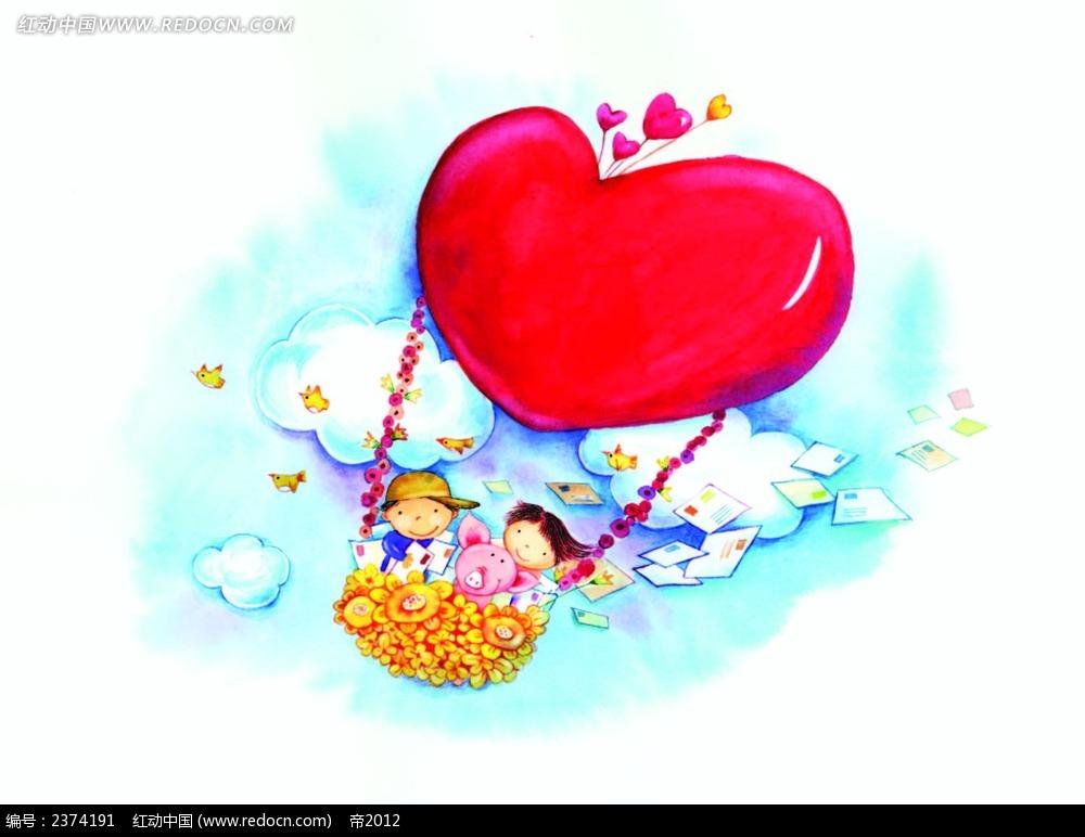 坐心形热气球的情侣画面