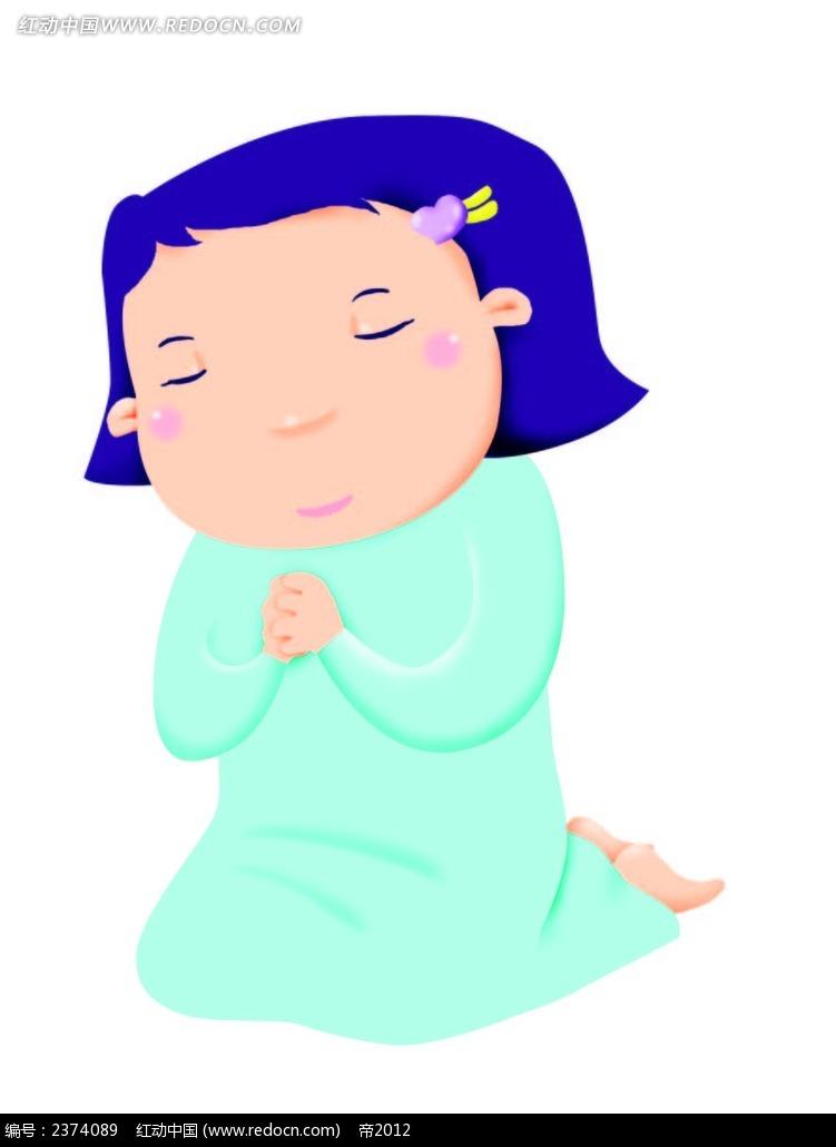 跪在地上祈祷的小女孩手绘画eps免费下载_卡通形象素材