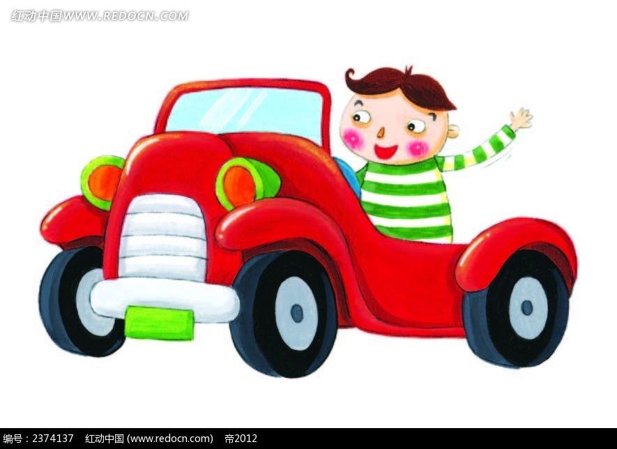 开汽车的小男孩手绘画