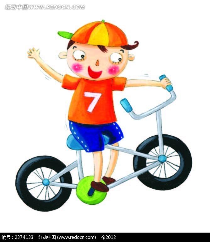 骑自行车的小男孩手绘画