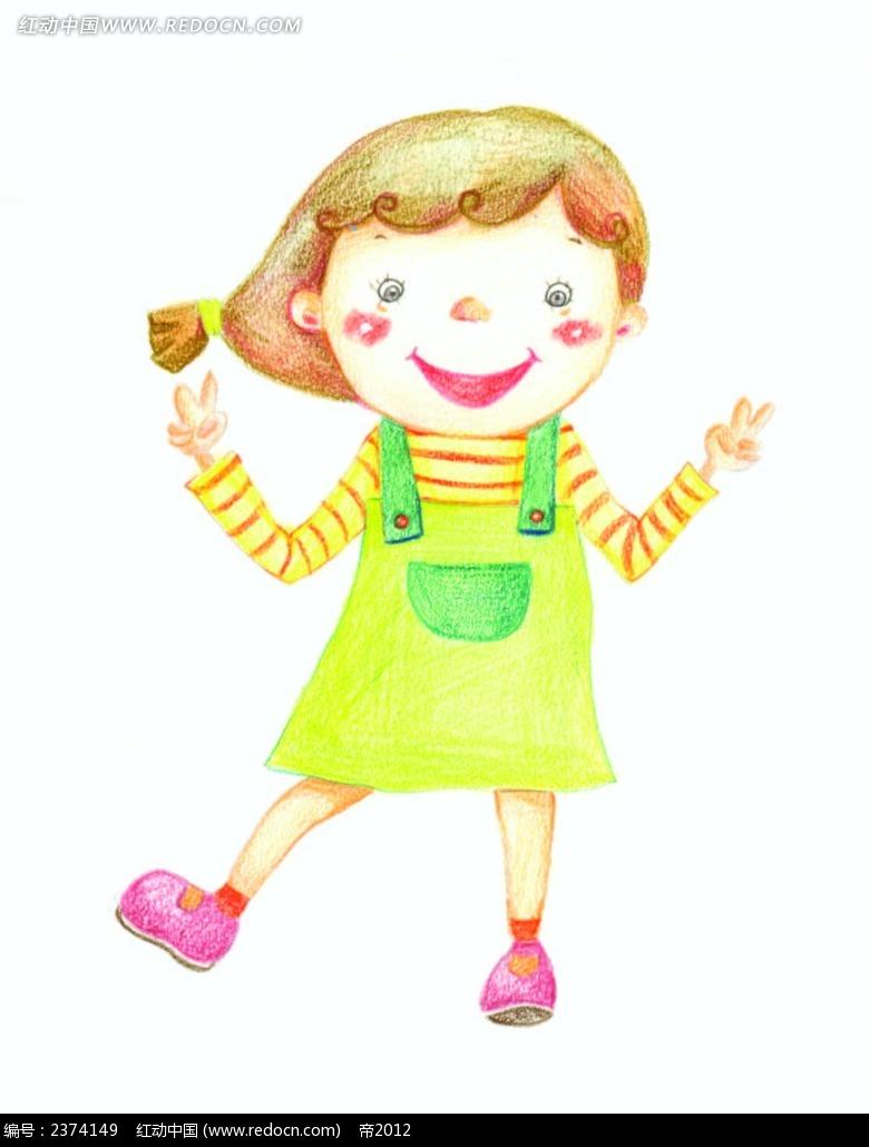 跳舞的小女孩彩铅画