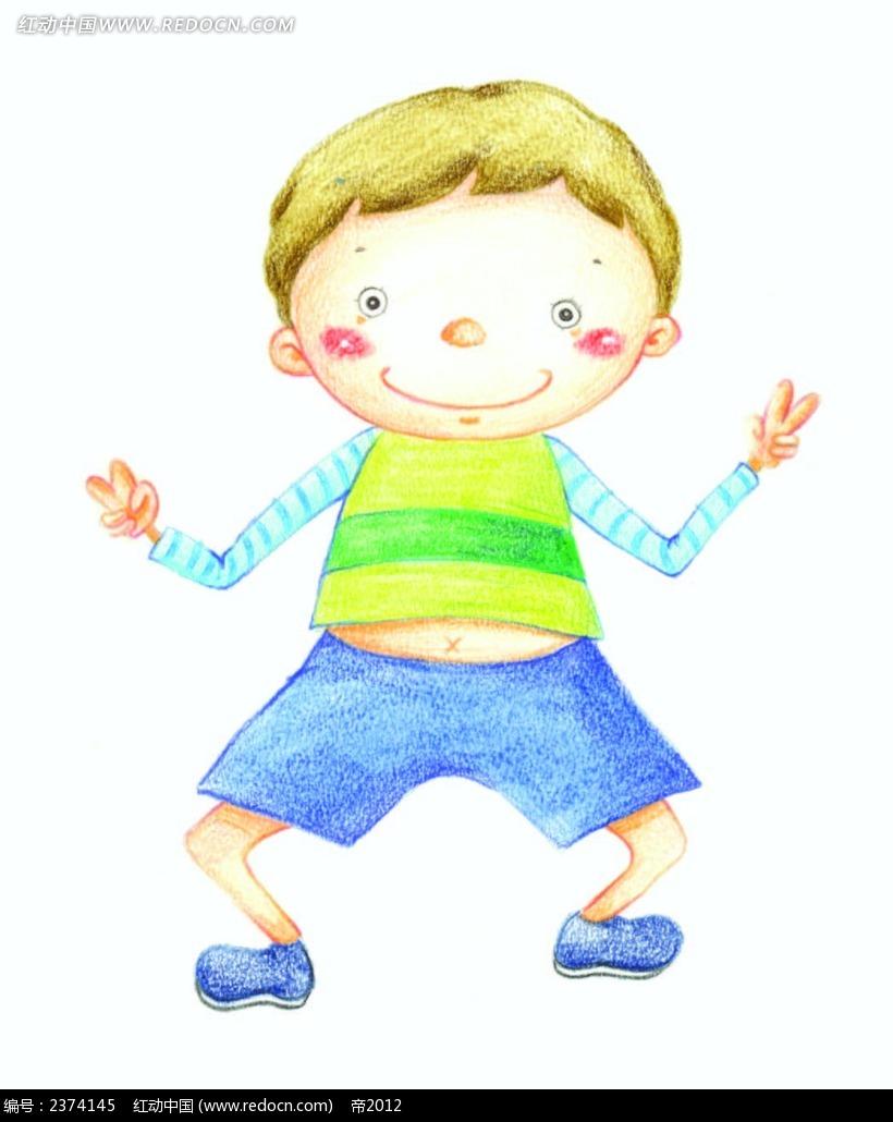 跳舞的小男孩彩铅画eps免费下载_卡通形象素材