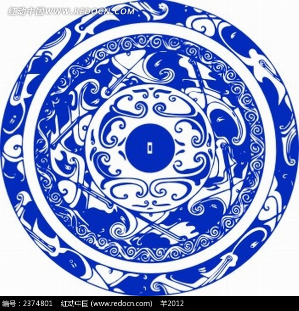 古老花纹盘子图案