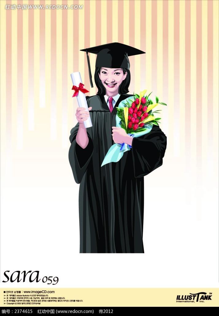 拿毕业书抱花的美女