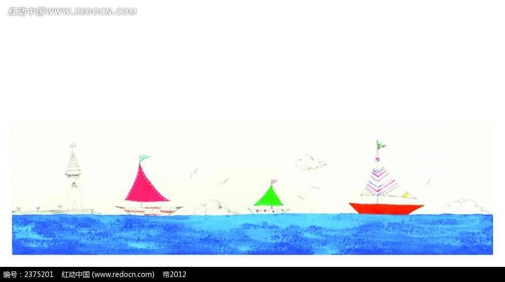 大海帆船背景水彩画