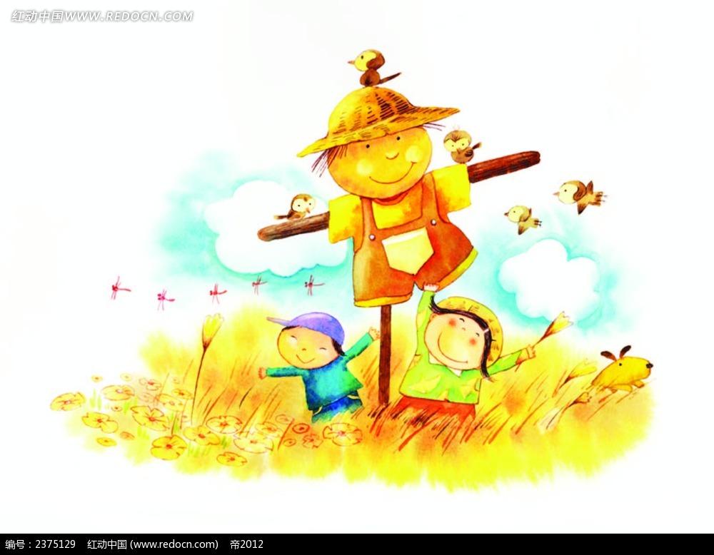 在稻草人下面玩耍的小男孩小女孩EPS素材免费下载 编号2375129 红