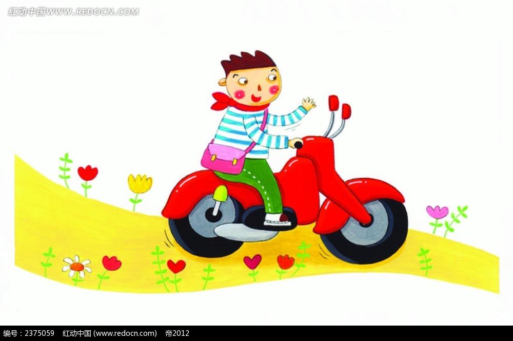 开摩托车上学的小男孩eps免费下载_卡通形象素材