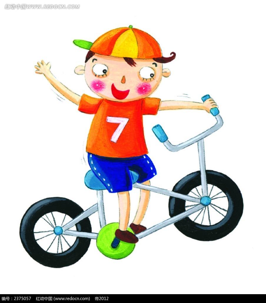 免费素材 矢量素材 矢量人物 卡通形象 骑自行车的小男孩